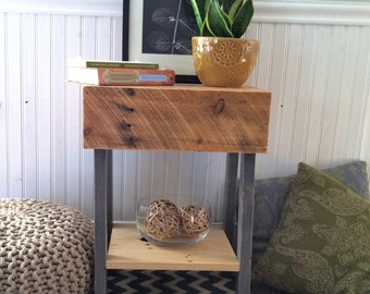 Two Tone Reclaimed Wood Stained Wood Side Table