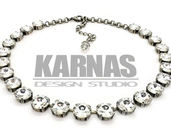 CRYSTAL CLEAR 12mm Rivoli Choker Made With Swarovski Crystal *Pick Your Finish *Karnas Design Studio *Free Shipping*