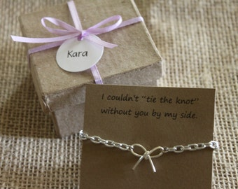 Set of Ten (10) Tie the Knot Bracelet, Will You Be My Bridesmaid Gift, Maid of Honor, Wedding Favor, Bridal Shower