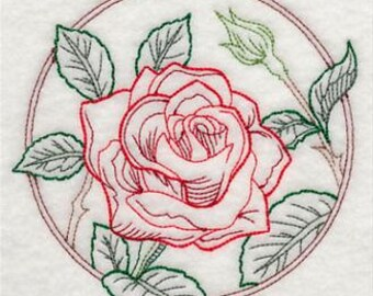 PAIR of Flour sack towels - Rose Circle - Embroidered redwork Great Gift!