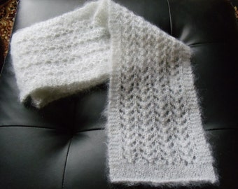 Handknit mohair lace scarf