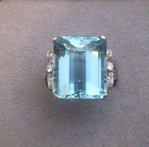 estate aquamarine ring 27 64cts emerald cut in by