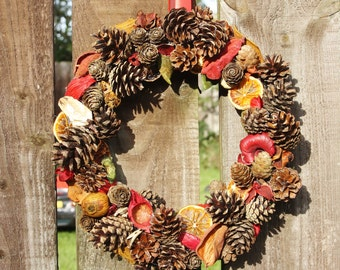 Rustic Red Pine Cone Wreath