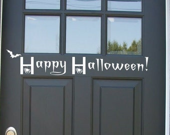 Decal Happy Halloween - Front door Decor with Bat and Spiders - Removable Vinyl holiday decal