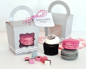 Cupcake Boxes - Individual Cupcake Boxes - Mini Cupcake Boxes Single Cupcake Boxes Cupcake Favor Boxes Pink Cupcake Box (EB2370) set of 12