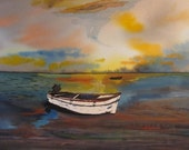 "Small Boat      8.5x10""  Original Watercolor, Ocean, sea, boat, water, sunset, Greece, wall art, gift art, home decor, blues yellows,"