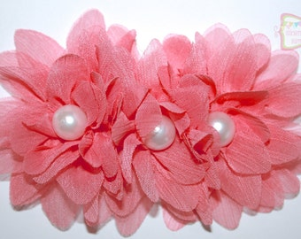 """4.2"""" Coral Chiffon Flower Cluster With Pearl Centers 1 Piece"""