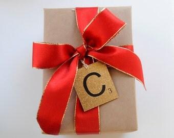 Scrabble Tile Glitter Gift Tag