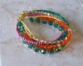 Women's 6 Strand Orange and Green Beaded Bracelet