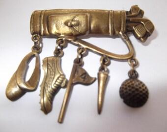 Vintage Bronze tone JJ Golf Brooch