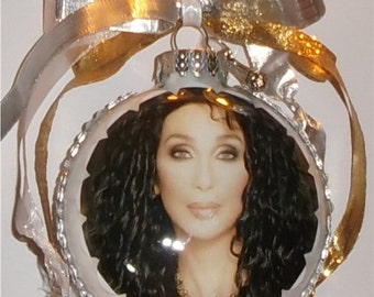 Cher inspired Tribute Christmas Ornament