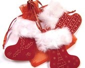 Fur trimmed Red Santa stockings - Hanging Christmas Tree Decorations - set of three laser cut and engraved, made in England.