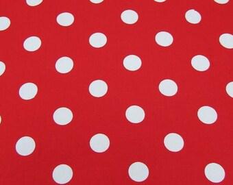 "Red - 100% Cotton Poplin Dress Fabric Material - 22mm Polka Dot / Spot - Metre/Half - 44"" (112cm) wide"