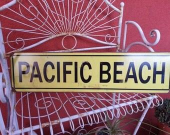 """Pacific Beach   metal sign 5x20""""  Beach, ocean decor  Yellow & Black"""