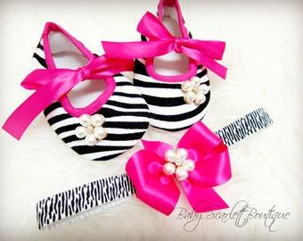 Zebra Print Pre-Walker Baby Girl Shoes with Headband Set