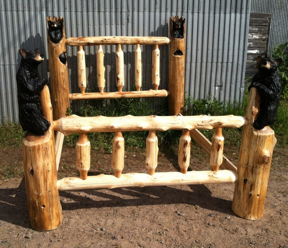 Chainsaw carved bear bed queen size