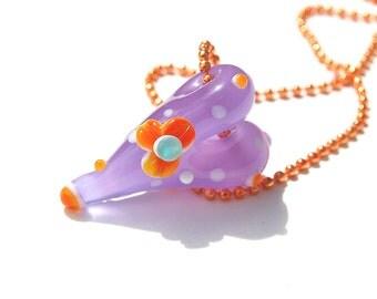 Handmade Lampwork Glass 3D Focal Bead - flower lampwork bead - 1 Focal Heart - whimsy