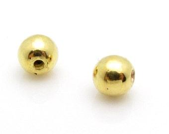 2 Pcs, 5.6 x 6.2 mm, 24k Gold Vermeil Bead