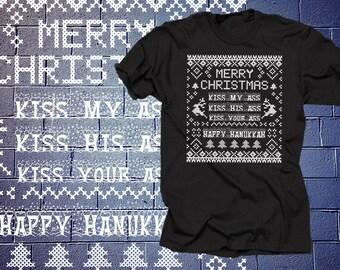 Christmas Vacation  T shirt Kiss My Ass Kiss His Ass Kiss Your Ass Happy Hanukkah National Lampoon's Christmas Vacation Shirt Tee