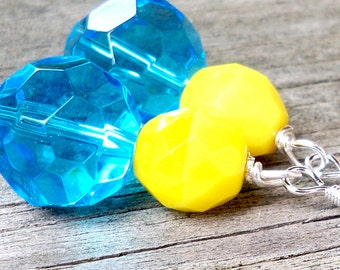Natila - GORGEOUS 14mm Round Multifaceted Blue Glass and Yellow Czech Glass Gemstone Silver Dangle Fish Hook Earrings