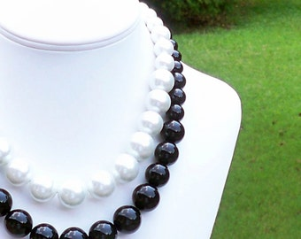 Ilsa - Graduated Chunky Black and White Double Strand Pearl Beaded Necklace