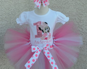 Baby Minnie Mouse Pink Sequin Birthday Number Tutu -Personalized Birthday Tutu,Sizes 6m - 14/16
