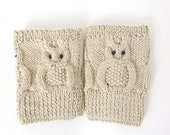 Knitted Boot Cuffs OWL  Boot Socks Boot Topper Leg in Beige - KernelCrafts