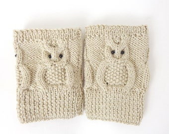Knitted Boot Cuffs Owl Boot Socks Boot Topper Leg in Cream Or Choose your color Christmas Gift