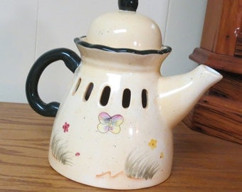 Vintage Tea Pot Candle Cover with Butterfly Home interiors
