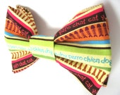 Green and Brown Dog Bow Tie Small Medium Large Removable Double Stacked Bowtie With Velcro Straps