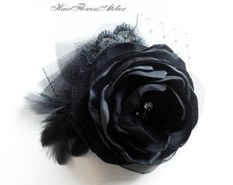 Black Headpiece Black Vintage Black Hair Clip Black Bridal Clip Black Wedding Accessories Black Fascinator Black Crystal Hair Accessories