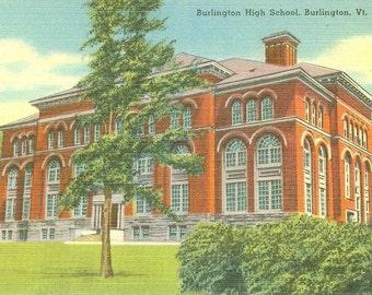 Lot of Five Vintage Linen Post Cards - Burlington High School, Burlington, Vermont - MINT NOS