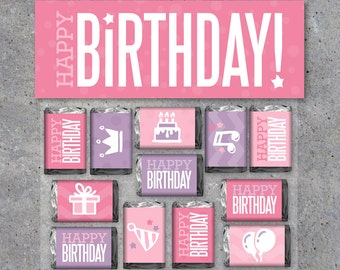 Happy Birthday GIRL Printable Treat Toppers & Candy Bar Wrappers – Printable Instant Download – Happy Birthday Gift for Girls – Ages 1-10