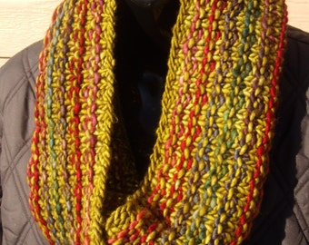 Infinity style cowls in hand knit malabrigo merino wool