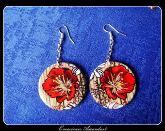 Earrings POPPY - hand painted wood