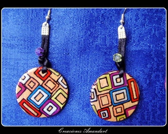 Earrings GEOMETRIC- hand painted wood