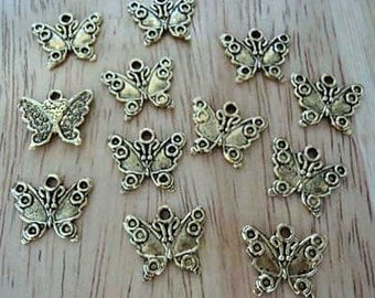 Pewter antique gold tone butterfly charms 12 pcs