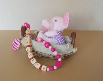 Toy holder chain | stroller clip on toy | car seat clip toy | baby girl gift | baby name toy