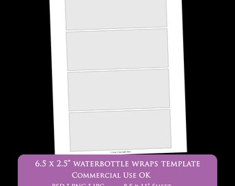 """waterbottle label 6.5 x 2.25 inch rectangle digital collage sheet template 8.5 x 11"""" party printable psd png Commercial Use Personal"""
