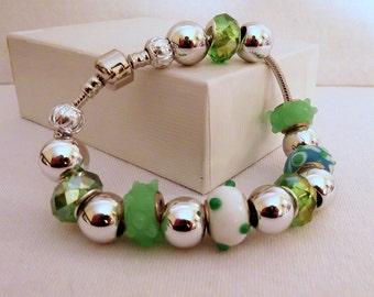 Green Glass Euro Charm Bead Bracelet, 7 inch  178mm wrist, European Big Large Beads, Biirthday Anniversary Christmas Gift, ID 172728916