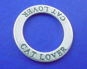 CLEARANCE -  CAT LOVER Charm or Pendant .925 Sterling Silver Affirmation