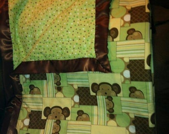 Green and Brown Monkey Blanket