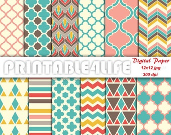 Colorful digital paper pack, Vintage background patterns, Chevron, Quatrefoil, Printable Scrapbook paper, Personal / Commercial Use (v02)