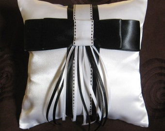 Ring Bearer Pillow in White Taffeta.  Wedding Item, Ribbon Trim customized for the Bride. Ready to use.
