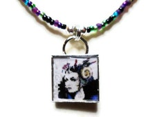 Final Fantasy 8 Edea pendant with seed beads - 20 inches,  free size adjustments - video game pendant - gifts for gamers - final fantasy