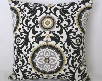 """Accent Pillow Cover - 20"""" x 20"""" SquareThrow Pillow - Suzani Decorative Pillow - Black and White Pillow Cover - Cushion Cover"""