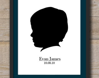 Custom Silhouette with name  -  8 x 10 - Digital File for print - Colors Fully Customizable