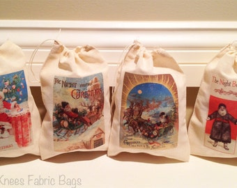 4 Night Before Christmas Holiday Favor Bags. Gift Set of 4 Victorian Vintage Cotton Drawstring 5x7 6x8 7x9