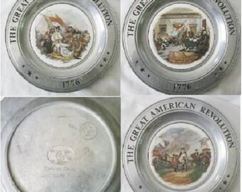 """Vintage Pewter & Porcelain Plates """"Great Americn Revolution"""" Set OF 3"""