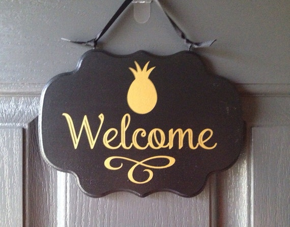 Items Similar To Welcome Sign With Pineapple Front Door